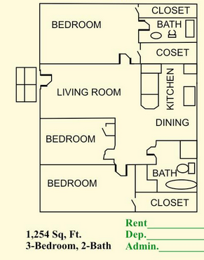 1,254 sq. ft. floor plan