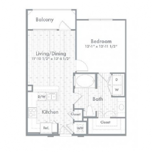 695 sq. ft. A3 floor plan