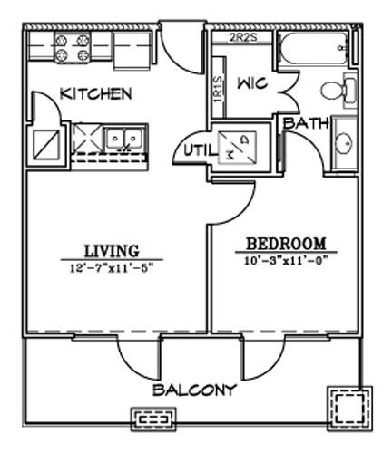 517 sq. ft. A9 floor plan