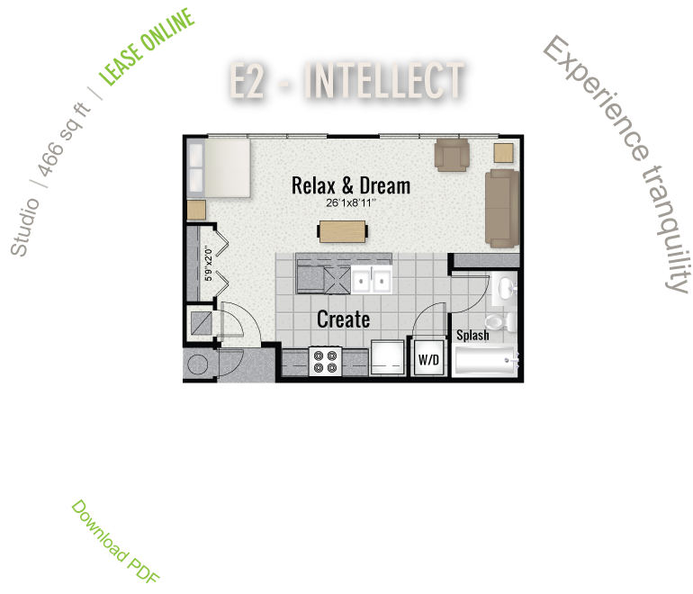 466 sq. ft. E2 floor plan
