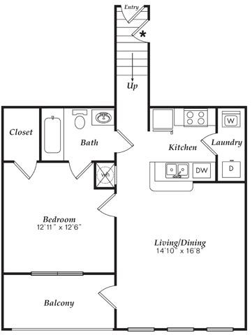 809 sq. ft. A1-U floor plan