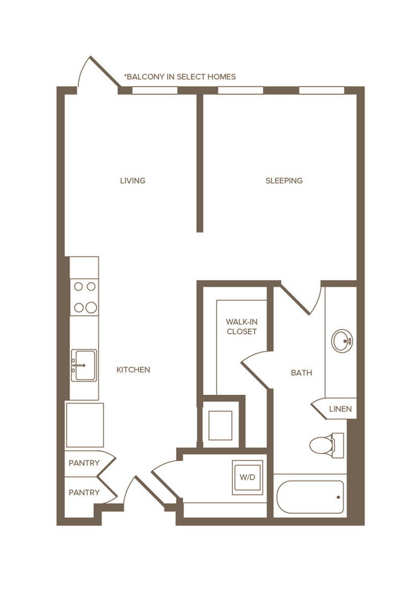 622 sq. ft. S2 floor plan