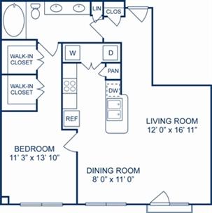 853 sq. ft. Madrid floor plan