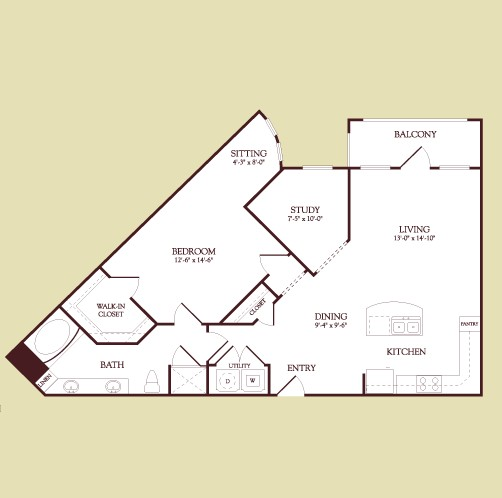 996 sq. ft. KLIMT floor plan