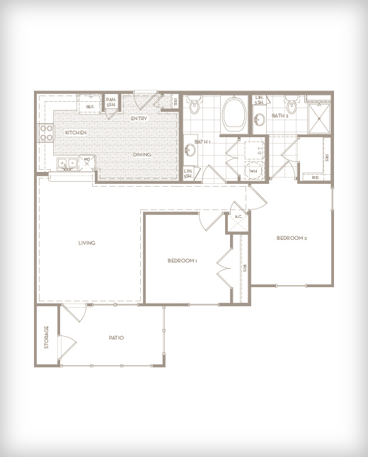 1,028 sq. ft. B1-G Exchange floor plan
