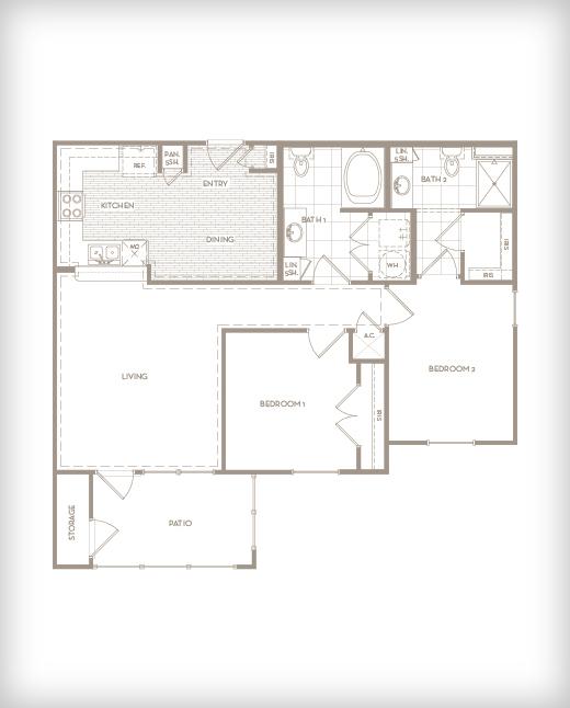 1,028 sq. ft. B1 Exchange floor plan