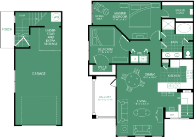 1,177 sq. ft. Pebble Beach floor plan