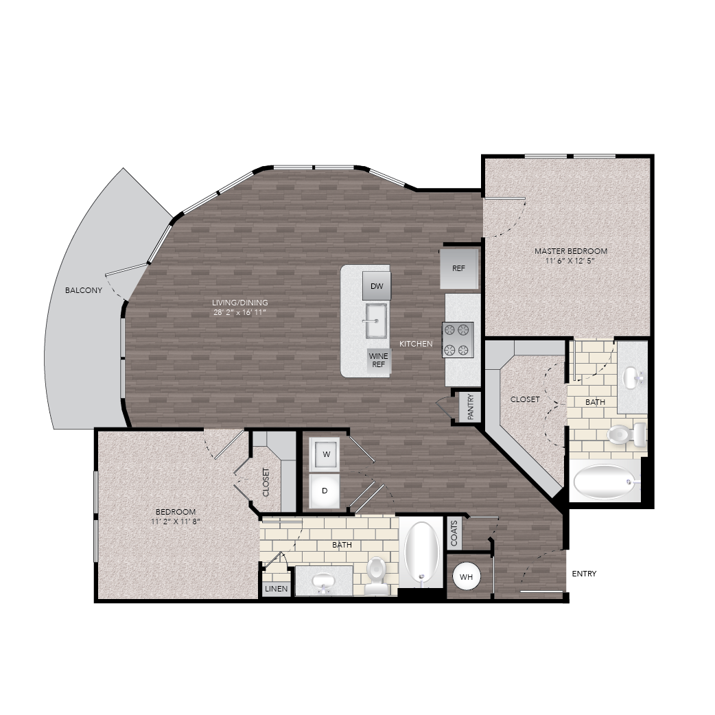1,110 sq. ft. B6C floor plan