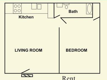 555 sq. ft. 1A floor plan