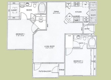 1,081 sq. ft. Belgium floor plan