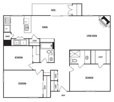 1,488 sq. ft. C2 floor plan