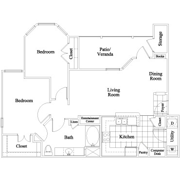 941 sq. ft. Riverton floor plan