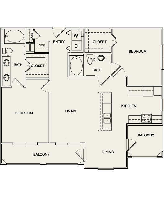1,149 sq. ft. B2 floor plan