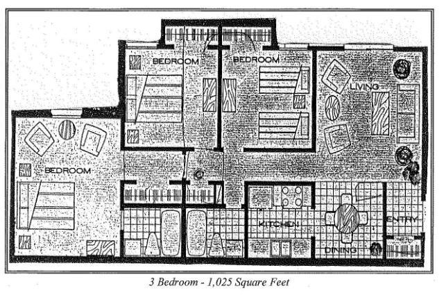 1,025 sq. ft. 2c floor plan