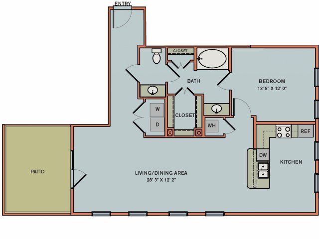 1,068 sq. ft. 3A2 floor plan