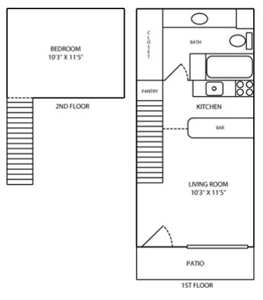 495 sq. ft. LOFT floor plan