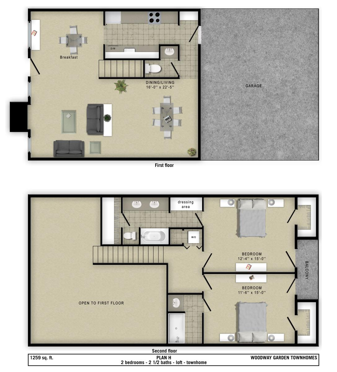 1,259 sq. ft. H floor plan