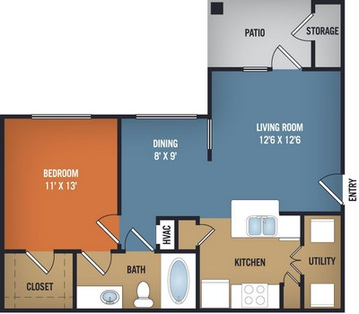 698 sq. ft. Sheridan floor plan