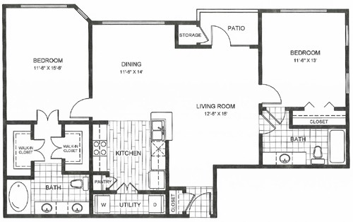 1,144 sq. ft. Congress floor plan