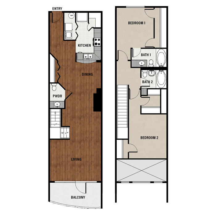 1,377 sq. ft. B2 floor plan