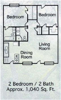 1,040 sq. ft. B-5 floor plan