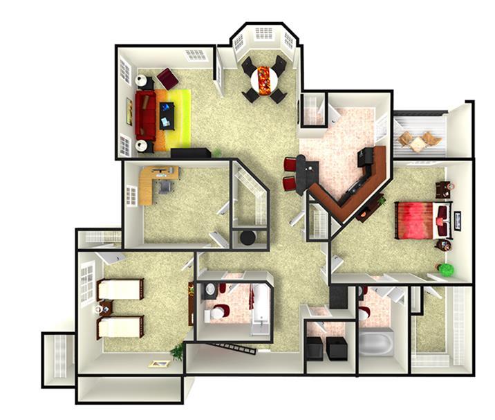 1,521 sq. ft. C1U floor plan