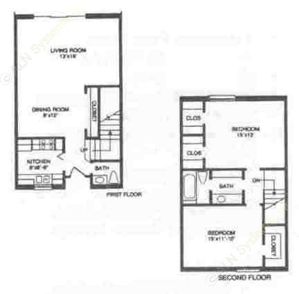 1,178 sq. ft. B4 floor plan