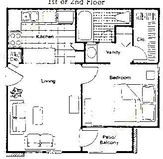 504 sq. ft. A1 floor plan