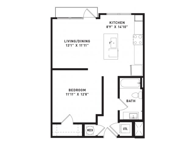 663 sq. ft. A0 floor plan