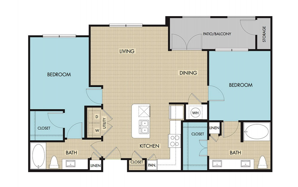 1,139 sq. ft. B3 floor plan