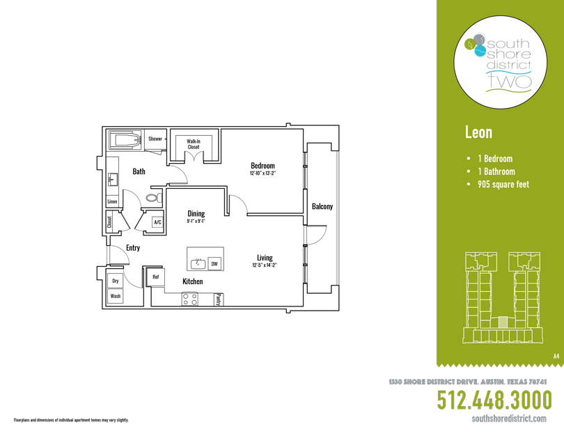 905 sq. ft. Leon floor plan