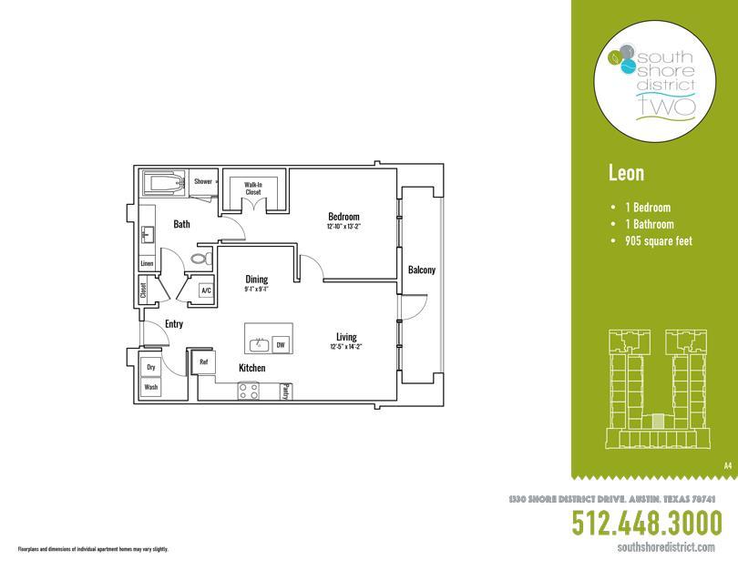 905 sq. ft. Leon floor plan
