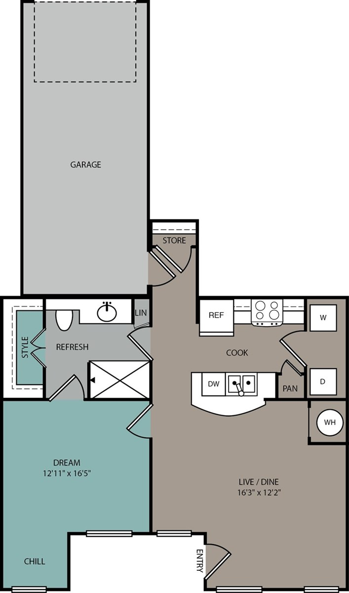 771 sq. ft. A1 L floor plan