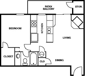 608 sq. ft. A3 floor plan