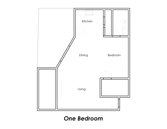 716 sq. ft. A floor plan
