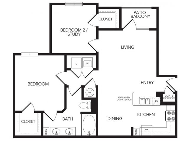 938 sq. ft. Foxgate floor plan