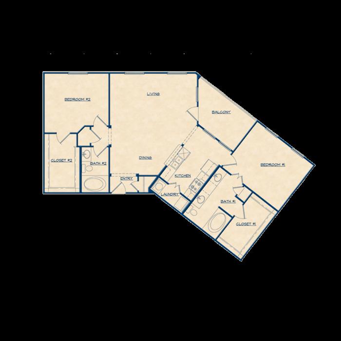 1,315 sq. ft. B2 floor plan