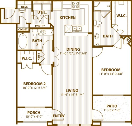 1,098 sq. ft. 2C 50% floor plan