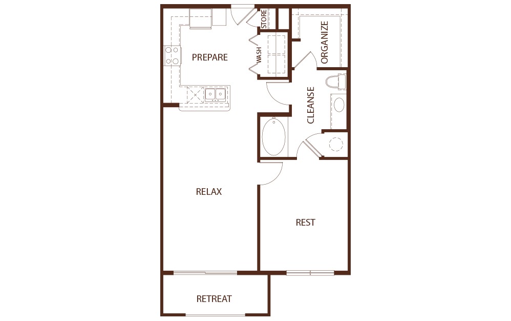 869 sq. ft. A2B floor plan