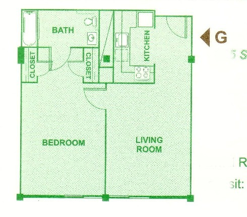 665 sq. ft. G floor plan