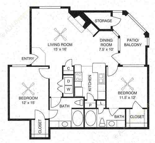1,090 sq. ft. Saratoga/B1 floor plan