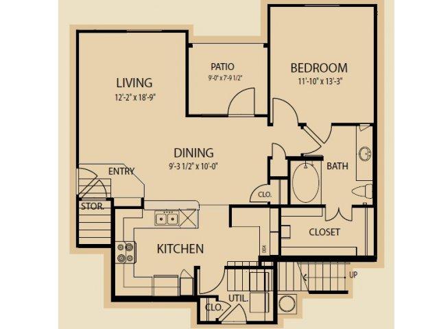 942 sq. ft. A9 floor plan