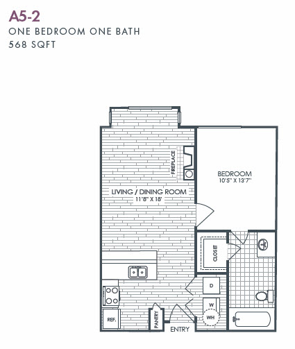 568 sq. ft. A5-2 floor plan