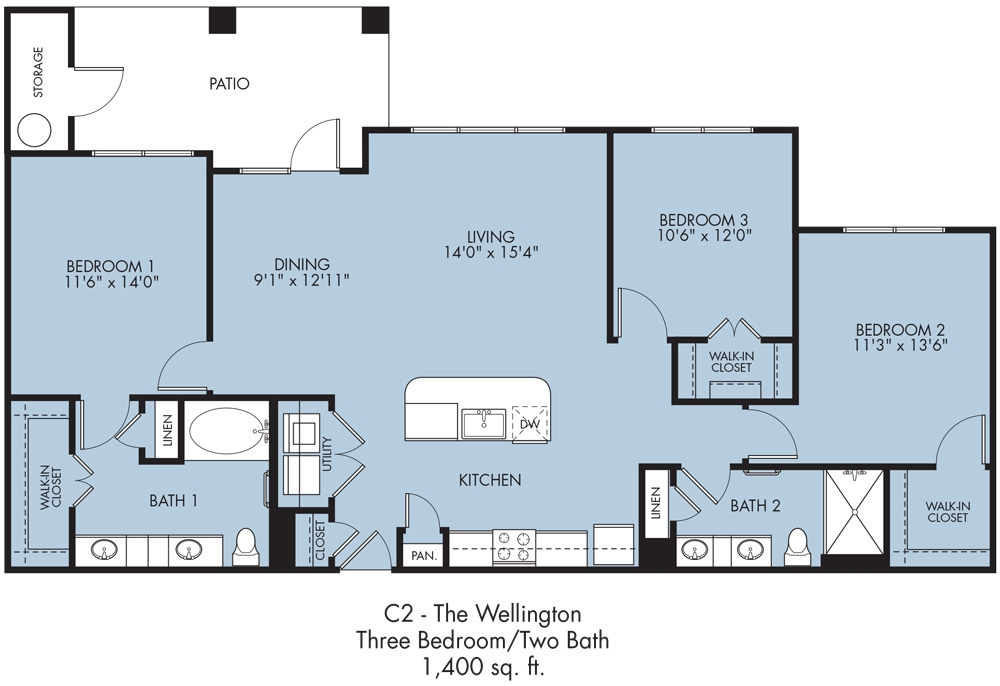 1,395 sq. ft. to 1,400 sq. ft. Wellington floor plan