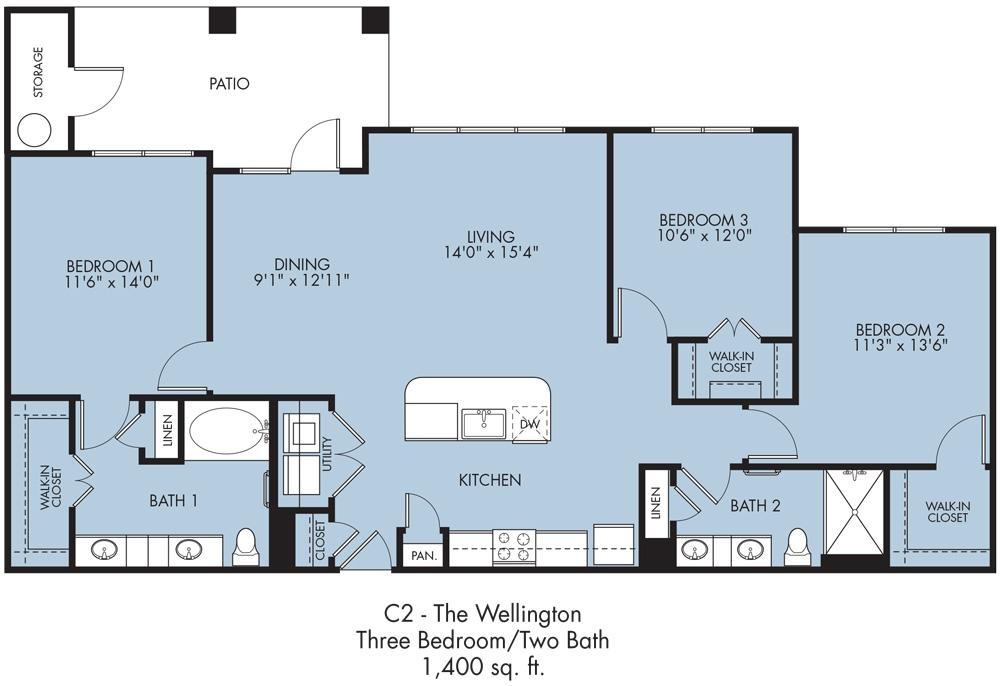 1,395 sq. ft. to 1,400 sq. ft. Wellington floor plan