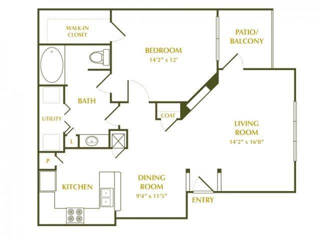 800 sq. ft. Cypress floor plan