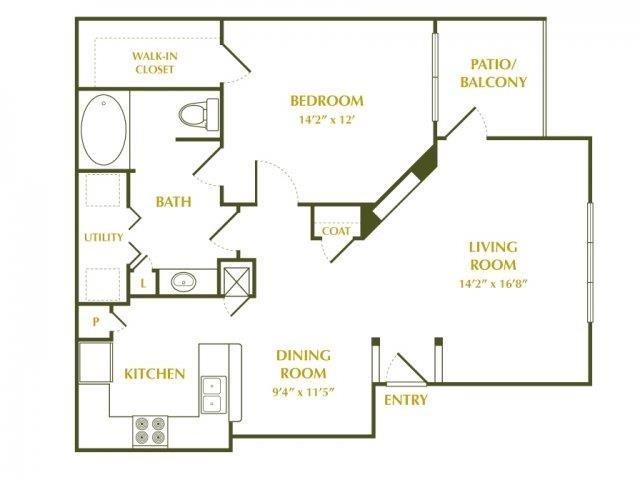 800 sq. ft. CYPRESS floor plan