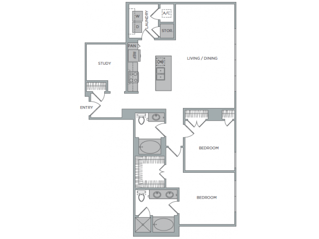 1,401 sq. ft. 2C floor plan