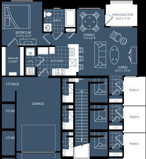 726 sq. ft. A4 floor plan