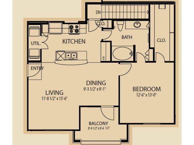 889 sq. ft. A7 floor plan